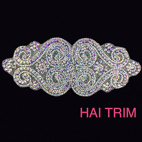 Gel-Back Rhinestone Appliques, Colored Iron-on Crystal Rhinestone Patches, IRA-034