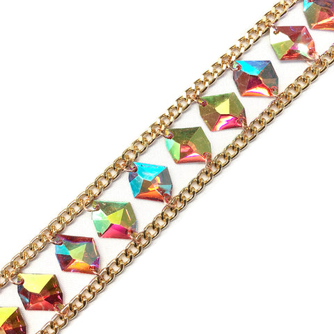 "1 1/2"" Chained Color AB Diamond Stone Trim, ACR-55"