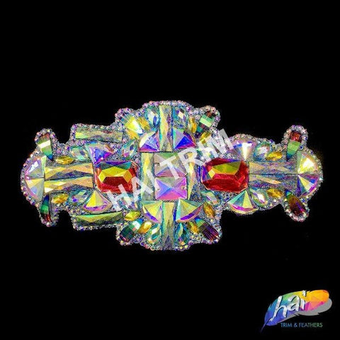 Multicolor Gel-Back Rhinestone Appliques, Colored Iron-on Crystal Rhinestone Patches for Carnival Broadway Dance Costumes, IRA-092
