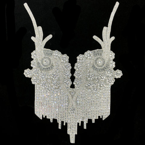 Gel-Back Rhinestone Bodice Appliques, Colored Iron-on Crystal Rhinestone Patches, IRA-110