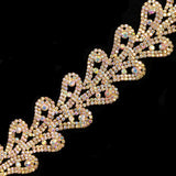 "1 3/4"" Curled Leaf Crystal Rhinestone Trim, RT-054"