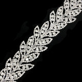 "1 1/4"" Clustered Crystal Rhinestone Leaf Trim, RT-083"