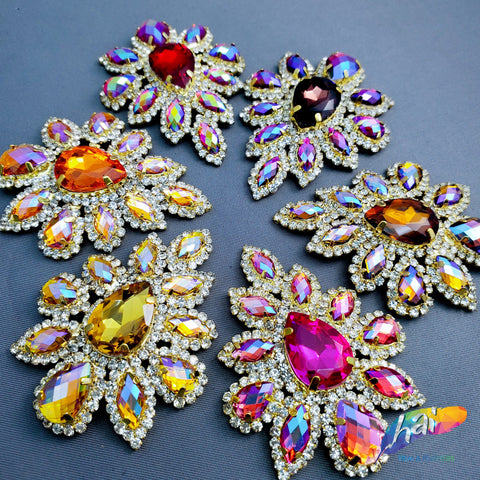 SALE! Color AB Flower Teardrop Rhinestone Applique, YH-107