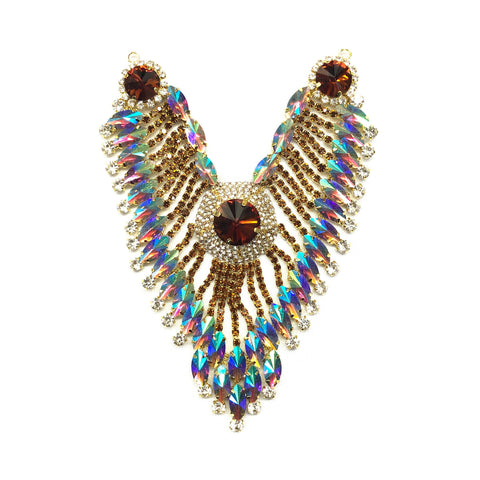 SALE! Colored Rhinestone Applique, Fancy Beaded Patch, Glass Stones Metal Medallion for Dance Costumes, YH-100