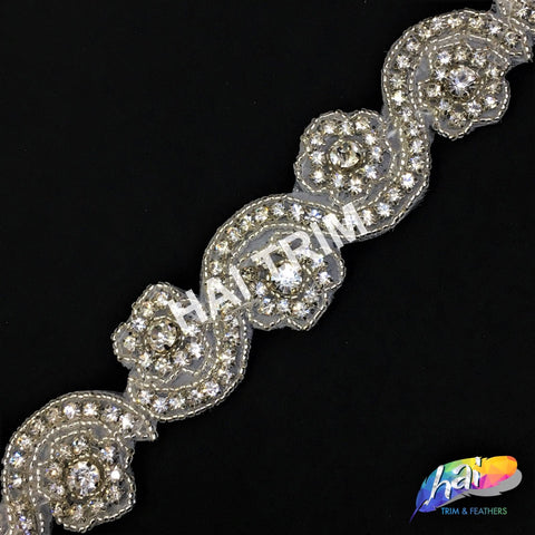SALE! Beaded Crystal Rhinestone Trimming, Wedding Elegant Formal Rhinestone Trim, Rhinestone Trim by the piece (1 yard), BRT-015