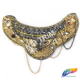 Gold/Gunmetal Beaded Chain Epaulet with Dangling Chain, EP-006 (sold per piece)