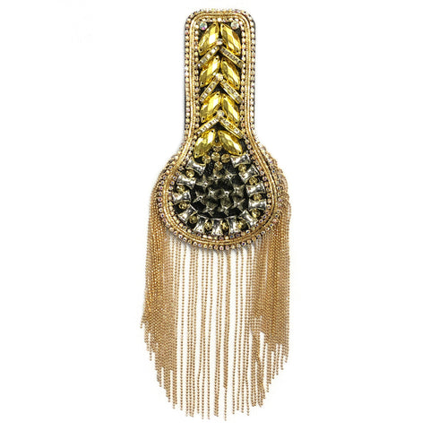 Studded Rhinestone Epaulet with Ball Chain Tassels, EP-028 (sold per piece)