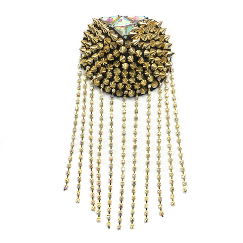 Beaded Spike Epaulet with Rhinestone Cupchain Fringe, EP-001 (sold per piece)