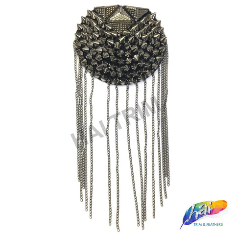 Studded Spike Epaulet with Dangling Chain Tassels, EP-002 (sold per piece)