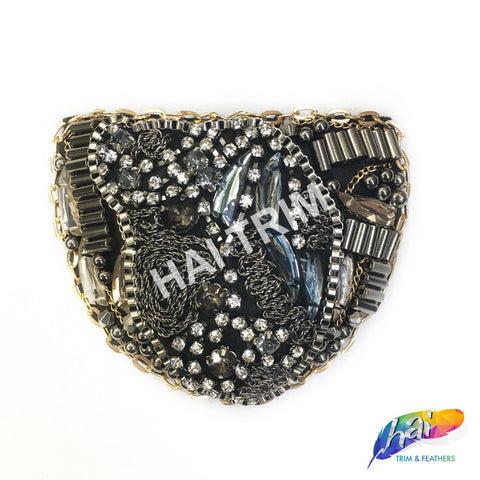 Gunmetal Multi Beaded Rhinestone Chain Epaulet, EP-008 (sold per piece)