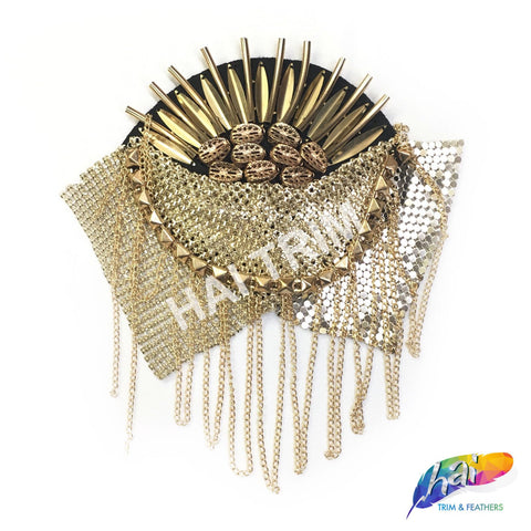 Gold Beaded Spike Epaulet with Chainmail and Dangling Chain Trim, EP-009 (sold per piece)