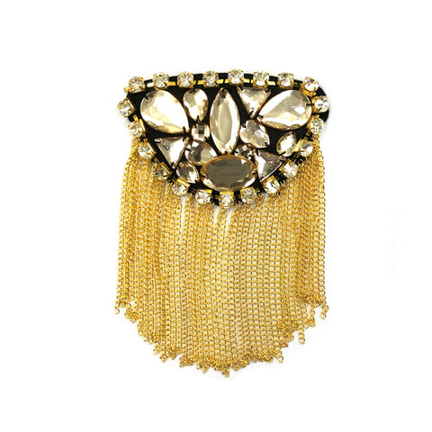 Light Yellow Beaded Rhinestone Epaulet with Dangling Chain Tassels, EP-015 (sold per piece)