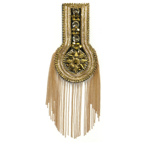 Rhinestone Chain Epaulet with Dangling Ball Chain Tassels, EP-029 (sold per piece)