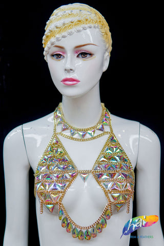 Chained Crystal AB Stone Bra Top, XY5000
