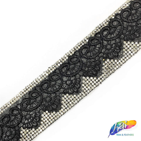 "1 5/8"" Black/Crystal Iron On Rhinestone Lace Trim, IRT-034"