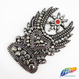 Rhinestone Applique on Felt Backing with Crystal Prong Setting, Fancy Rhinestone Patch for Headpieces BA-016