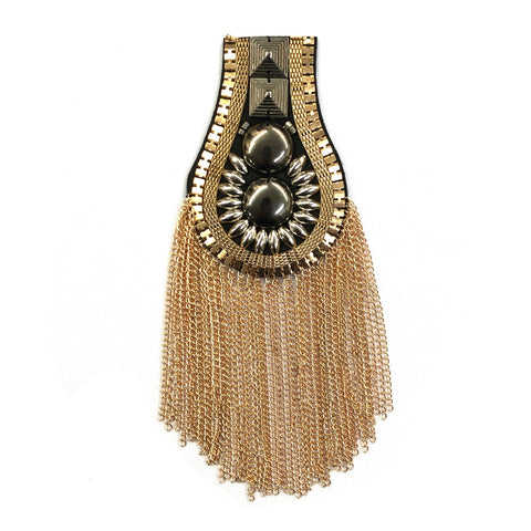 Studded Beaded Epaulet with Chain Tassels, EP-016