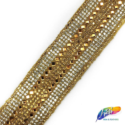 "1 1/4"" Gold/Crystal Rhinestone Iron on Trim with Diamond Stones, IRT-050"