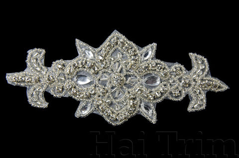 Beaded Rhinestone Applique, Wedding Formal Prom Crystal Patch, NA-072