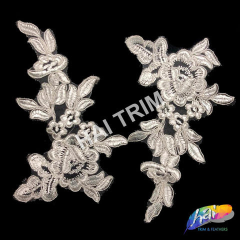 Flower Lace Applique, Embroidered Flower Lace Patch for Wedding and Formal Wear, LAP-05