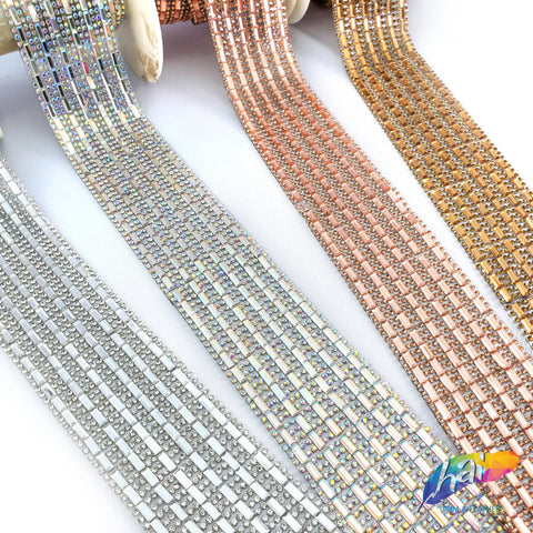 "1 3/4"" 6-row Crystal Baguette Rhinestone Iron on Trim, IRT-003"