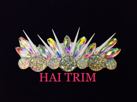 Beaded Stone Spike Applique, Colorful Resin Gems Patch, Dance Broadway Carnival Costume Headpiece Waist Centerpiece, NAS-28