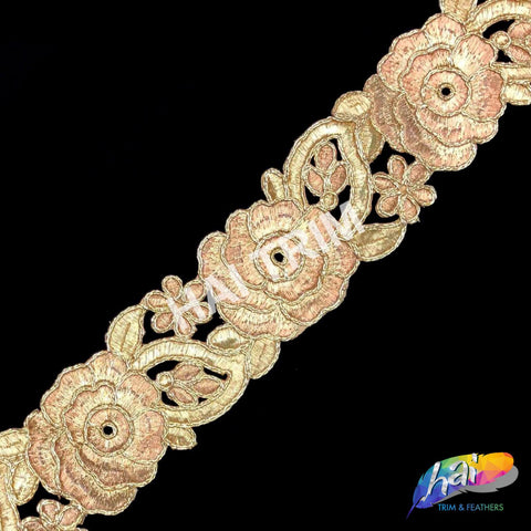 "2"" Gold/Rose Gold Metallic Flower Embroidered Trim, EMB-12"