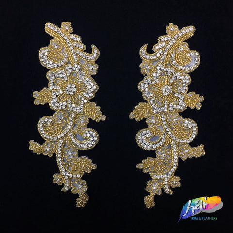 Beaded Rhinestone Applique, Wedding Formal Prom Crystal Patch, RA-239