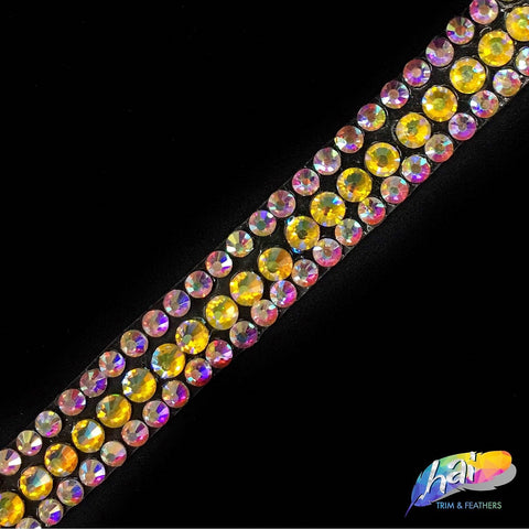 "1/2"" 3-row Color AB Rhinestone Iron on Trim, IRT-029"