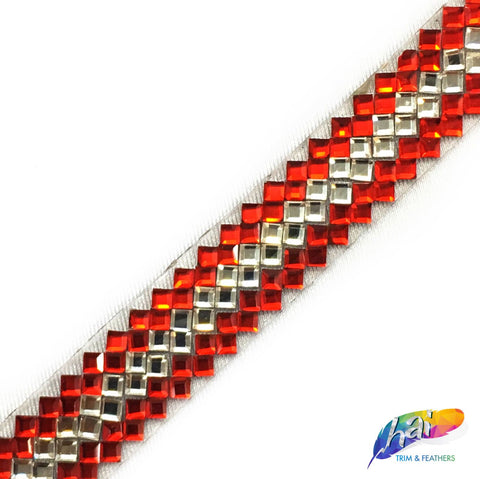 "1/2"" Multiple Diamond Rhinestone Iron on Trim, IRT-066"