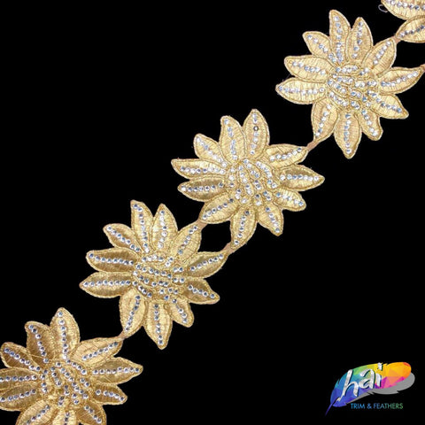 "3 5/8"" Metallic Floral Embroidered Trim with Rhinestones, EMB-28"