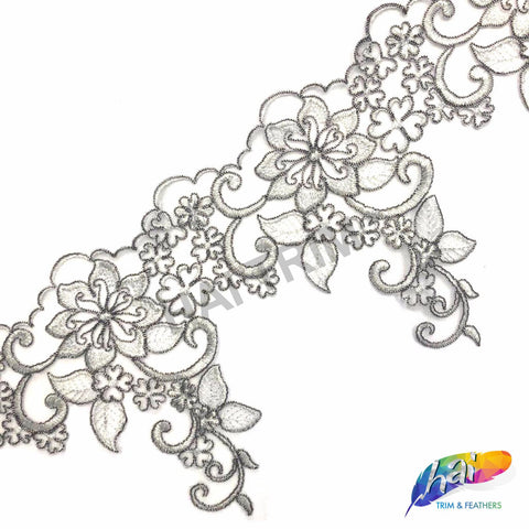 "8"" Metallic Silver Lace Flower Embroidered Trim, EMB-37"
