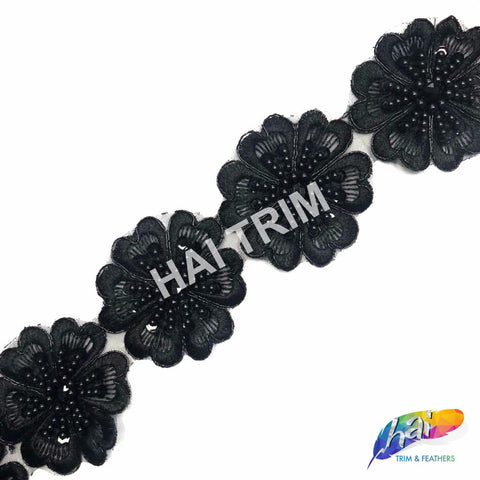 "2 3/4"" Black Beaded Flower Embroidered Trim, EMB-41"