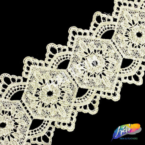 "4 1/2"" Light Yellow Diamond Embroidered Lace Trim, EMB-49"