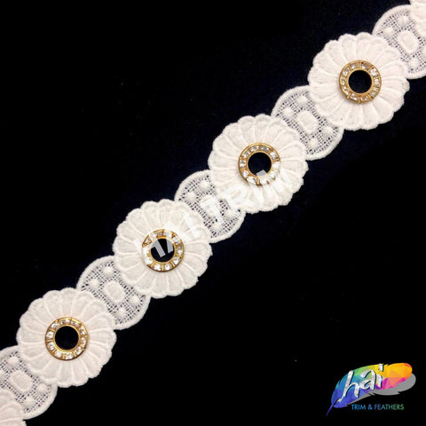 "1 1/2"" Flower Embroidered Trim with Gold Rhinestone Ring, EMB-56"