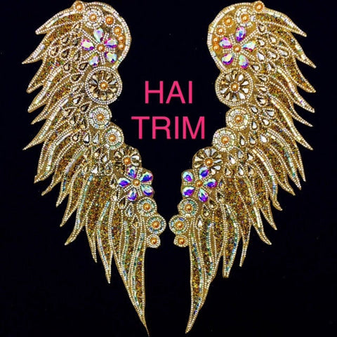 Wing Gel-Back Rhinestone Bodice Appliques, Colored Iron-on Crystal Rhinestone Patches by the Pair, IRA-021