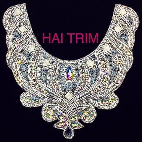 Gel-Back Rhinestone Appliques, Colored Iron-on Crystal Rhinestone Patches, IRA-022
