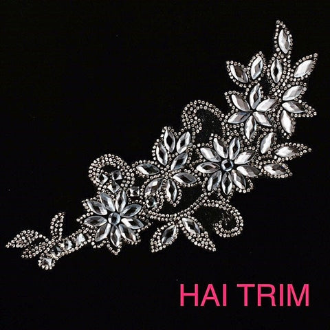 Black Diamond Flower Crystal Rhinestone Iron on Applique, IRA-047