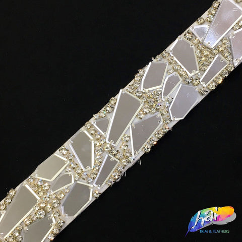 SALE! Cut Mirror Trim with Rhinestones on Felt, MT-02