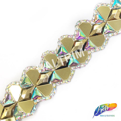 "2 1/8"" Gold/Crystal AB Resin Iridescent Diamond Mirror Iron on Trim, IRT-073"