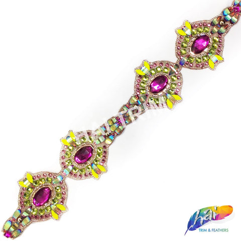 "3 1/8"" Fuchsia/Neon Green Medallion Resin Iridescent Iron on Trim, IRT-077"