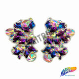 Multicolor Gel-Back Rhinestone Applique, Colored Iron-on Crystal Rhinestone Patch for Carnival Broadway Dance Costumes by the Pair, IRA-090