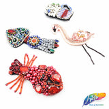 Flamingo, Lobster, Squid and a Root Beer Float Rhinestone Beaded Applique with a Felt Backing, BA-040,BA-041,BA-042,043