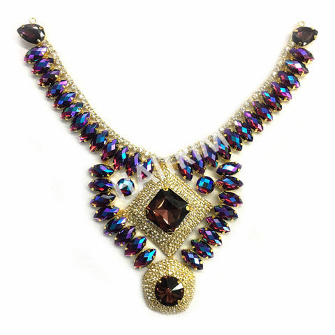 SALE! Colored Rhinestone Applique, Fancy Beaded Patch Necklace, Glass Stones Metal Medallion for Dance Costumes, YH-093