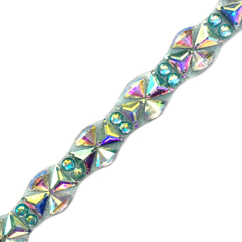 "1"" Multicolored Resin Stone Iron on Trim, IRT-092"