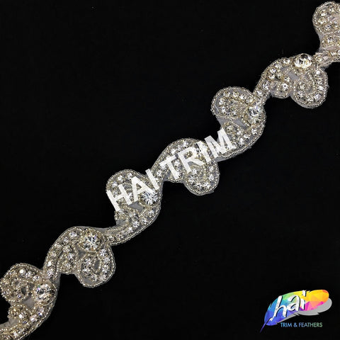 SALE! Beaded Crystal Rhinestone Trimming, Wedding Elegant Formal Rhinestone Trim, Rhinestone Trim by the piece (1 yard), BRT-024