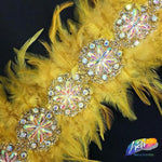 "6-7"" Yellow Gold Saddle Feather Trim with Iridescent Rhinestone Gel-back Medallion Trim"