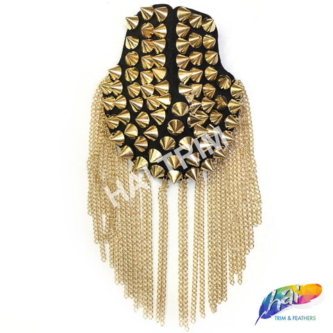 Spike Epaulets with Dangling Chain Tassels, EP-003 (sold per piece)