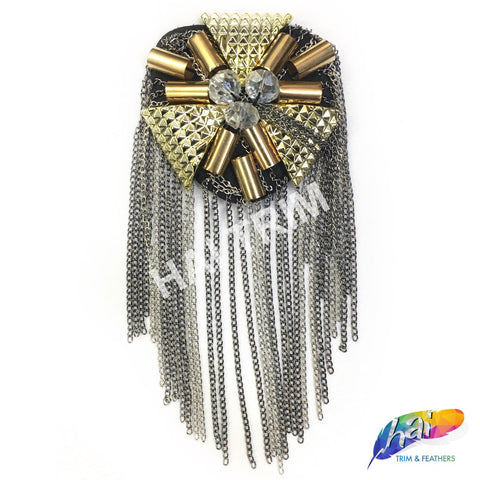 Gold/Gunmetal Beaded Epaulets with Dangling Chain Tassels, EP-005 (sold per piece)