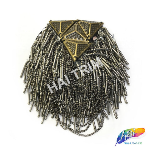 Antique Gold/Gunmetal Beaded Chain Stone Epaulet, EP-011 (sold per piece)